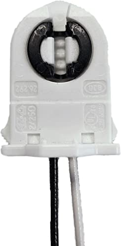 LIGHT YOUR WORLD Pack of 15 - UL Listed Non-Shunted T8 Lamp Holder Socket Tombstone with 12 inches Wires Attached for...