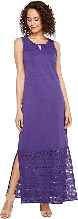 Mod-o-doc - Heavier Slub Jersey Tank Maxi Dress with Eyelet Contrast