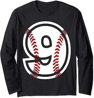 Number #9 Baseball Tee - Nine Year Old Long Sleeve Shirt