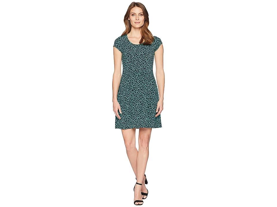 MICHAEL Michael Kors Graphic Leopard Cap Sleeve Dress (Aqua/Black) Women