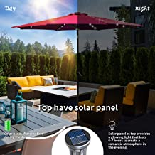 KOOLWOOM 9ft Solar LED Lighted Patio Umbrella with Crank and Manual Tilt,Outdoor Umbrella with Fade Resistant Water Proof Fabric and Push Button,Without Base (red 2)