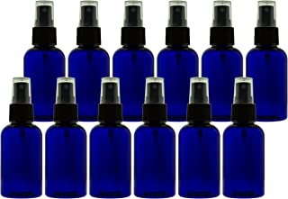 2 oz (60ml) Cobalt Blue PET Bottles Refillable - Boston Round spray bottles for essential oils Blends - Great for DIY Projects - Set of 12 with 12 Black Mist Spray