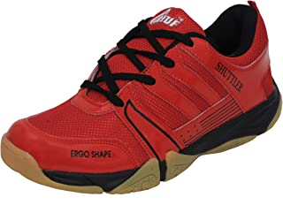 B-TUF SHUTTLER Badminton Shoes Unisex (Non Marking) (Red/Black)