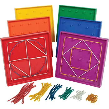 edxeducation Double-Sided Geoboard Set - in Home Learning Manipulative for Geometry and Creativity - 5 x 5 Grid/12 Pin Circular Array - Set of 6 with Rubber Bands, Assorted, 5 W in (7728)