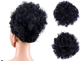 SWACC Afro Puff Drawstring Ponytail Kinky Curly Afro Clip on Updo Chignon Bun Hair Piece Extensions for African American Women Medium Size (Black-1#)
