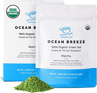Organic Matcha Green Tea Powder (1.2 oz / 34g) - Hand Picked Ceremonial Grade USDA Organic Non-GMO 100% Pure Vegan Organic Green Tea Korean Food - Authentic South Korean Origin Superfood