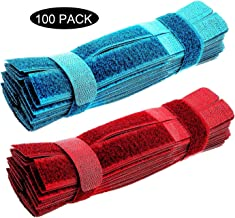 100pcs careda Cable Ties Reusable Fastening Wire Organizer Management Loop Strap Cord Rope Holder 7 Inch Holder for Car, Office and Home Computer (SkyBlue+red)