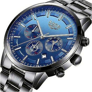 Men Watches Military Black Steel Wristwatch Casual Sport Waterproof Chronograph Analog Quartz Watch Men Fashion Dress Business Date Clock Luxury Men Watch