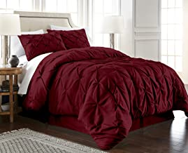 Chezmoi Collection Berlin 2-Piece Pintuck Pinch Pleat Bedding Comforter Set (Twin, Burgundy)