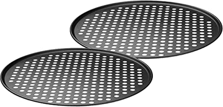 Checkered Chef Pizza Trays - Twin Pack of Round Nonstick Perforated Pizza Pans - Pizza Pan with Holes for a Crisper Pizza...