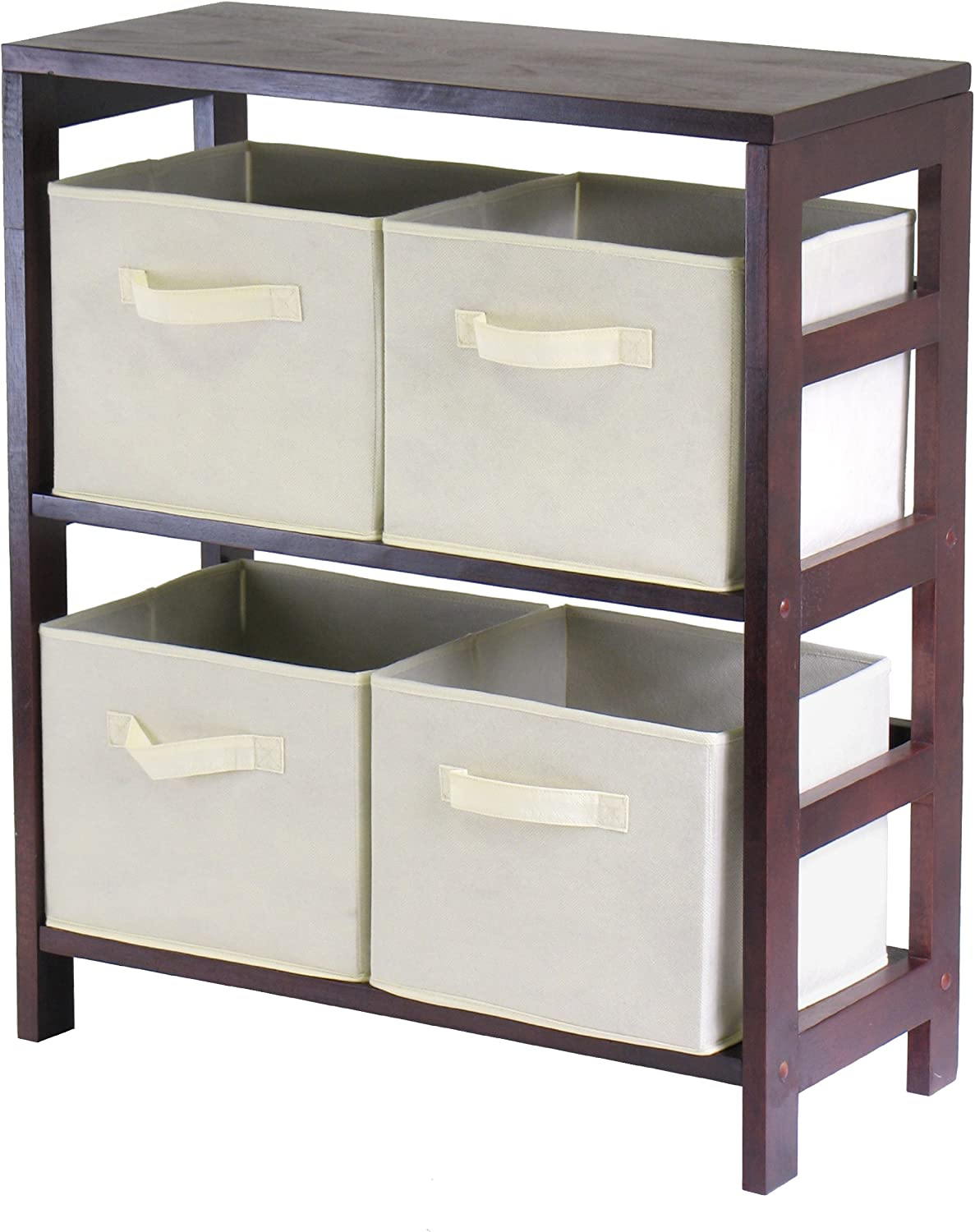 Winsome Wood Capri 2 Section Storage Shelf 4 Our shop OFFers Los Angeles Mall the best service Fab with Beige