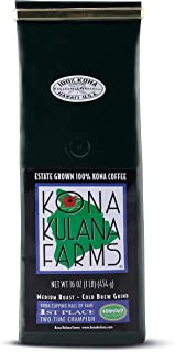 Kona Kulana Farms Cold Brew Coarse Ground Coffee Medium Roast - 100% Kona Coffee Single Origin - Best for Cold Brew & French Press -16 ounce