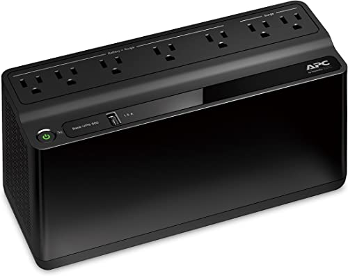 APC UPS Battery Backup & Surge Protector with USB Charger, 600VA APC Back-UPS (BE600M1)