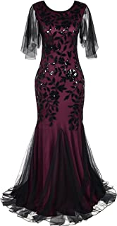Women's Evening Dress 1920s Sequin Mermaid Hem Maxi Long Formal Ball Gown