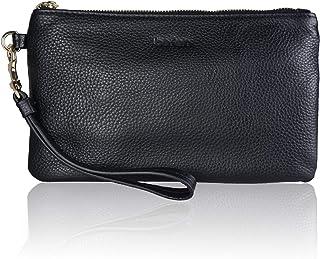 Women's Genuine Full Grain Leather Wristlet Clutch Wallet, Smartphone Wristlet Purse..