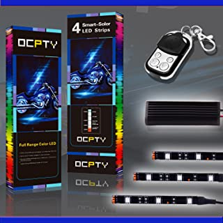 OCPTY 6Pack Motorcycle LED Light Kit Strips with Remote Controller Multi-Color Strips 3-5050-RGB Accent Glow Neon Lights Lamp fit for Polaris KTM BMW Harley Davidson Honda Kawasaki Suzuki Ducati