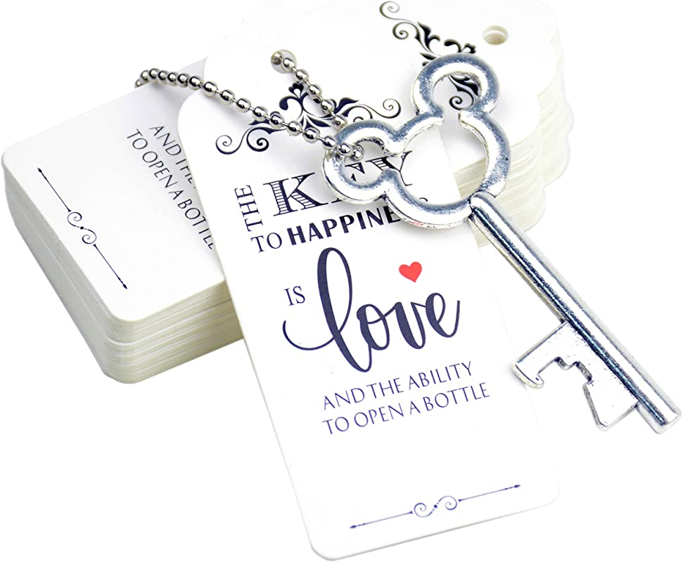 Aokbean 52pcs Vintage Skeleton Key Bottle Opener Party Favor Wedding Favor Guest Souvenir Gift Set With Escort Thank You Tag Card And Keychain Antique Silver