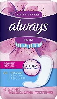Always Incredibly Thin Active Feminine Panty Liners for Women, Wrapped, Scented 60 Count - Pack of 4 (240 Count Total)