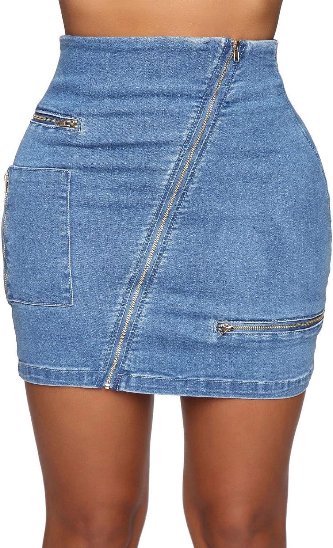 CHARTOU Women's Vintage Denim Irregular Slanted Zipper Bodycon Mini Skirt
