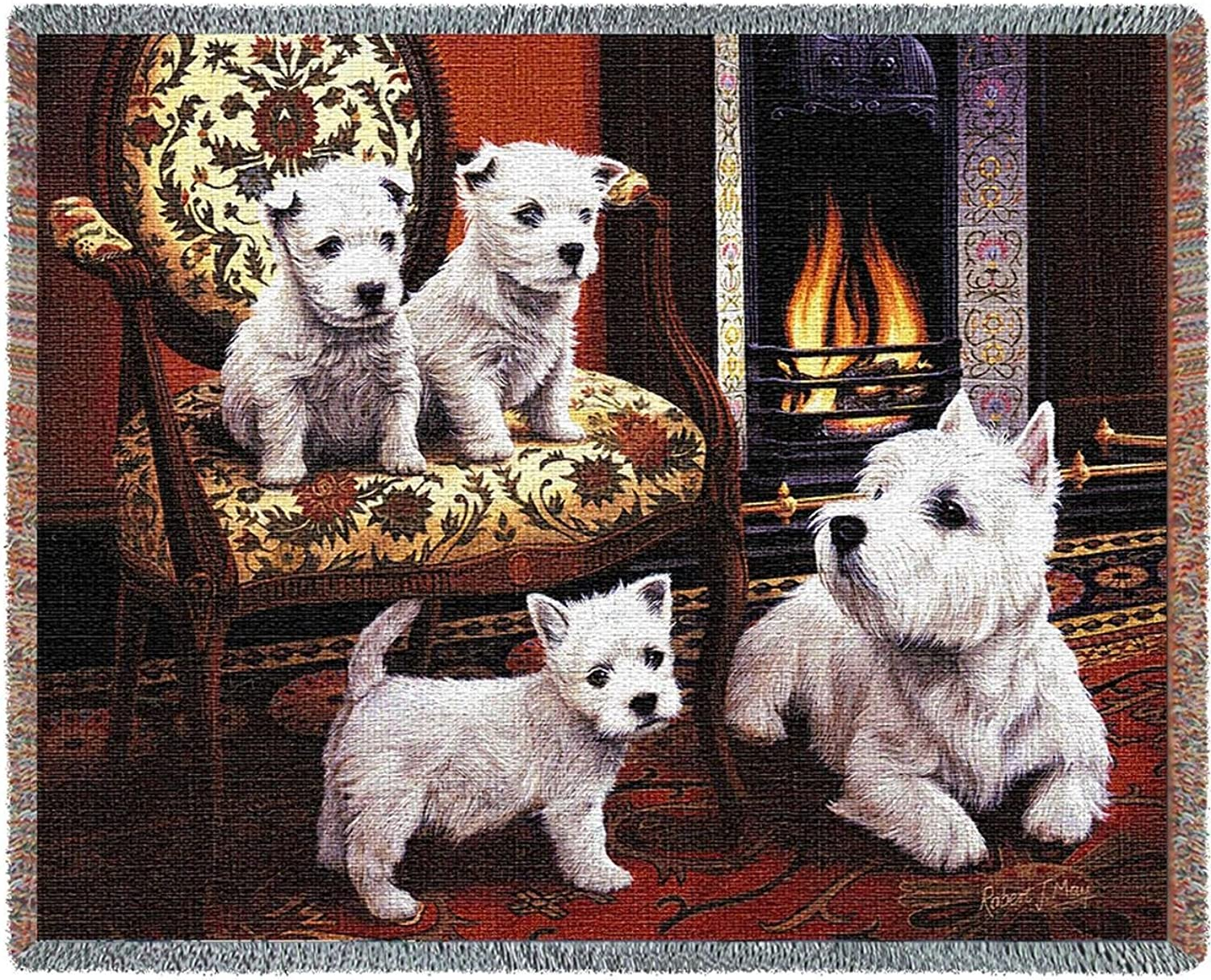 Pure Country Weavers - West Highland White Terrier Woven Tapestry Throw Blanket with Fringe Cotton USA Size 72 x 54