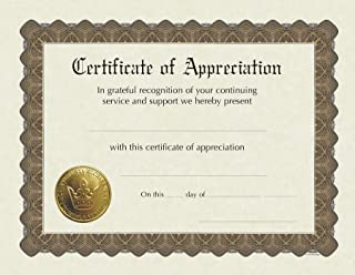"""Great Papers! Certificate of Appreciation, Pre-Printed, Gold Foil, Embossed, 8.5"""" x 11"""", 6 Count (930000)"""