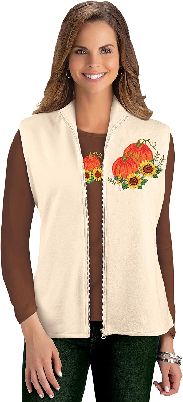 Womens Fall Pumpkin and Sunflower Harvest Embroidered Vest | Lightweight Zip Up Ivory
