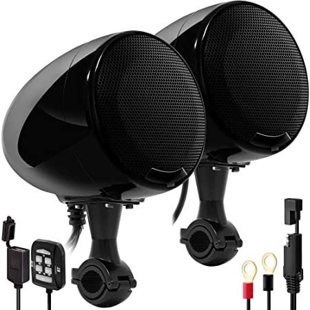 """GoHawk AN4-X 2-Channel All-in-One Amplifier 4.5"""" Full Range Waterproof Bluetooth Motorcycle Stereo Speakers Audio Amp System w/AUX for 1 to 1.25"""" Handlebar Harley Cruiser Can-Am ATV RZR Polaris"""