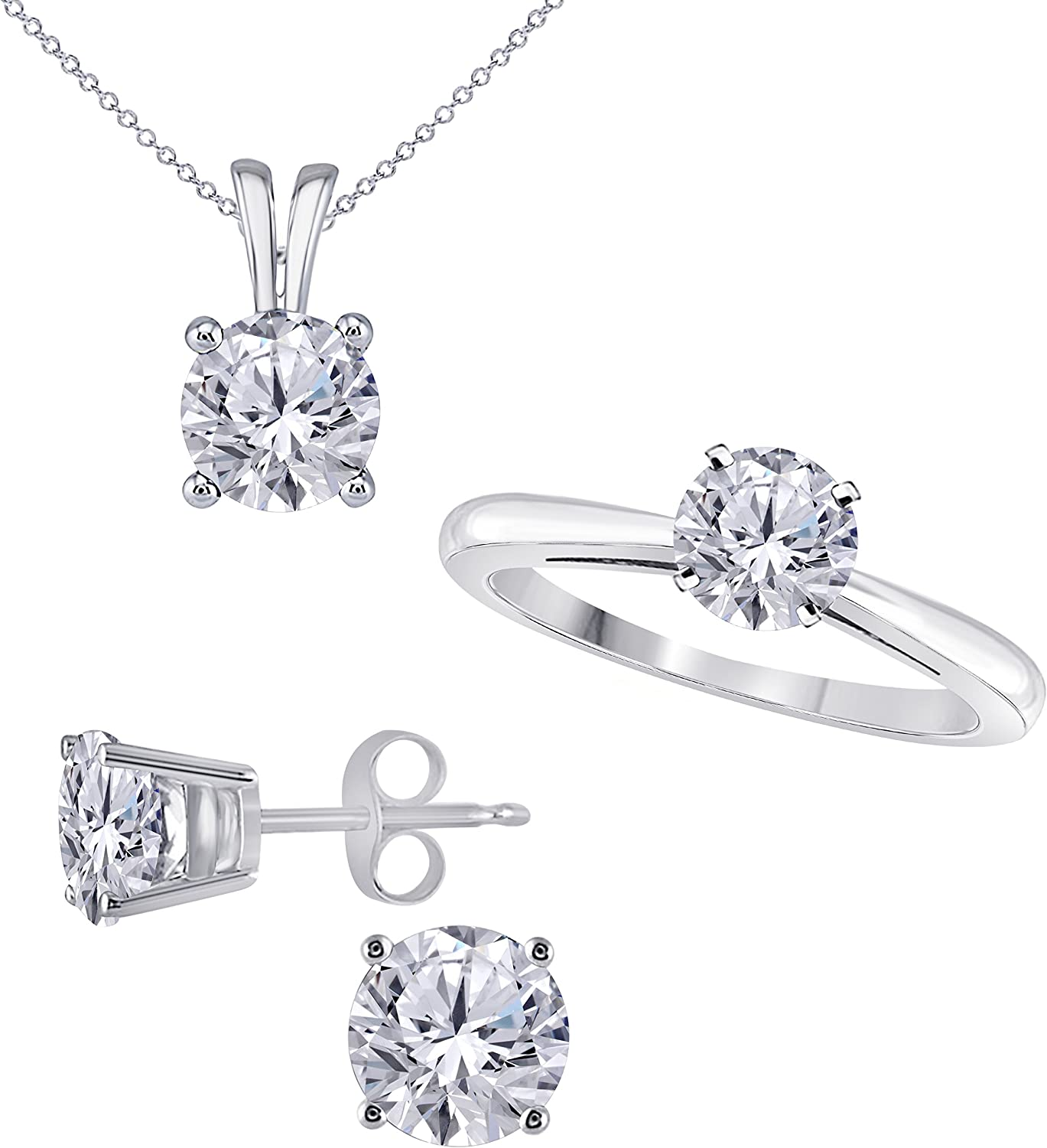14k Gold Rhodium Plated Alloy 6 MM Round Cut Cubic Zirconia Ring, Pendant and matching Earrings Set Wedding Bridal Ring Womens Sets Jewelry