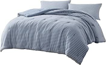 Chezmoi Collection Levi 3-Piece Striped Jersey Knit Cotton Comforter Set - Solid Reversible Lightweight Super Soft and Bre...