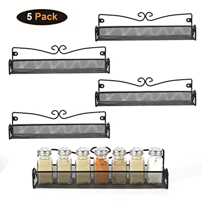 5 Pack Wall Mount Spice Rack Organizer for Cabi...