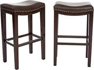 Jaeden Backless Faux Leather Bar Stools with Brass Nailhead Studs, Set of 2 (Renewed)