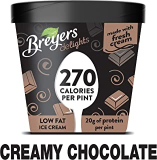 Breyers Delights Low Fat Ice Cream indulgence without the guilt Creamy Chocolate 100% Grade A milk & cream, All American dairy 16oz