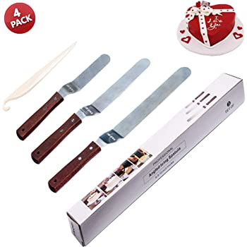 """Angled Icing Spatula, Stainless Steel Offset Cake Scraper Icing Spatula Set 6"""" 8"""" 10"""" Bent Inverted Knife Pastry Decorating Stripping Tools Frosting Uneven Spatula Set"""
