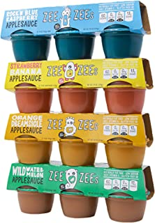 Zee Zees Variety Pack Applesauce Cups - Blue Raspberry, Orange Dreamsicle, Strawberry Banana & Wild Watermelon, 4 oz Cups,...