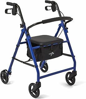 """Medline Steel Foldable Adult Transport Rollator Mobility Walker with 6"""" Wheels, Blue"""