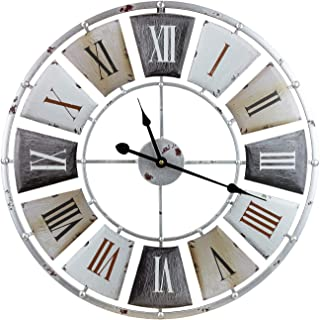 """Sorbus Wall Clock, Centurion Roman Numeral Hands, Vintage Industrial Rustic Farmhouse Style Home Décor, Analog Wood Metal Clock, 24"""" Round"""