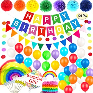 Rainbow Birthday Party Decorations Supplies PREMIUM Set Colorful Happy Bday Banner | Kids Fiesta Cumpleaños Decoracion Col...