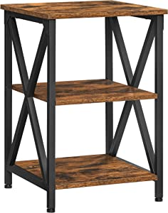 VASAGLE Nightstand, 3-Tier Side Table with Storage Shelf, End Table Steel Frame, for Bedroom, Living Room, X-Shaped Design, Farmhouse Industrial Style, Rustic Brown and Black ULET278B01
