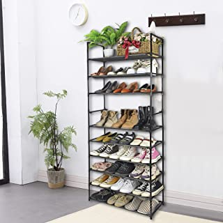 AOSION 10 Tier Shoe Rack Organizer With Handle,Adjustable 50 Pairs For Tall Shoe Rack,Lightweight And Removable Metal Shoe...