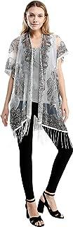 Pretty Persuasions Women's Sexy Embroidery Mesh Sheer Sparkle Kimono Ruana Cardigan Blouse Cover Up