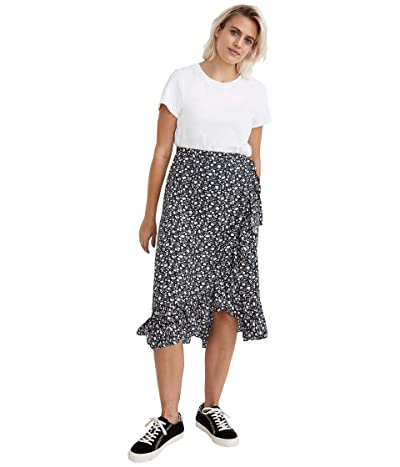 Madewell Wrap Ruffle Midi Skirt (Harvest Vine Deep Navy) Women