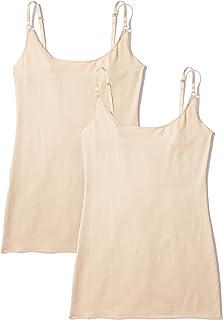 Marca Amazon - Iris & Lilly Camiseta de Tirantes de Algodón Mujer, Pack de 2