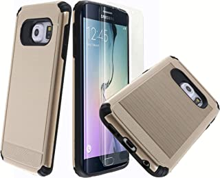 amazon com samsung galaxy s 6 edge cases, holsters \u0026 sleevesdual layer armor [free curved screen protector][ drop protection] full body protective