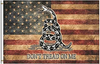 Vintage American Flag Dont Tread On Me Flag 4x6 Feet with Brass Grommet Double Stitch USA Flag Black Coiled Rattle Snake Banner Garden Flag Breeze House Decorations for Indoor Outdoor Boat
