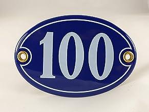 Emaille huisnummerbordje nr. 100, ovaal, blauw-wit Nr. 100 Blau-Weiß