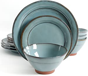 Gibson Elite Terranea 12 Piece Dinnerware Set, Teal