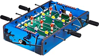 Relaxdays Futbolín de Mesa, con luz led, Mini Juego para Niños y Adultos, 4 Barras y 2 Pelotas, DM-Plástico, Azul, Color (10024099)