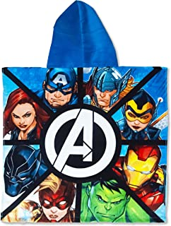 Marvel Avengers Bath/Pool/Beach Hooded Poncho - Super Soft & Absorbent Cotton Poncho (Official Marvel Product)