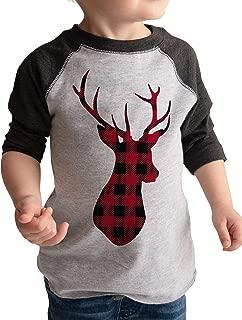 Kids Plaid Deer Raglan Tee Grey