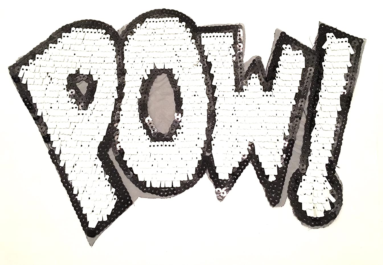 Sequence Applique,sewing,patch ,Pow, 10.5x7in, white and Black,Sequence sewing patches,